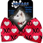 Red XOXO Pet Bow Tie Collar Accessory with Velcro