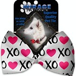 Pink XOXO Pet Bow Tie Collar Accessory with Velcro