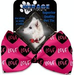 Pink Love Pet Bow Tie Collar Accessory with Velcro