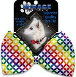 Rainbow Bright Diamonds Pet Bow Tie