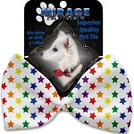 Rainbow Stars Pet Bow Tie Collar Accessory with Velcro