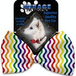 Rainbow Fun Stripes Pet Bow Tie Collar Accessory with Velcro