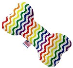 Rainbow Fun Stripes 8 inch Stuffing Free Bone Dog Toy
