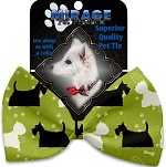 Scottie and Westie Pet Bow Tie Collar Accessory with Velcro
