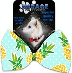 Pineapples and Polka Dots Pet Bow Tie Collar Accessory with Velcro