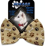 Mocha Paws and Bones Pet Bow Tie Collar Accessory with Velcro