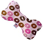 Pink Donuts 6 inch Canvas Bone Dog Toy