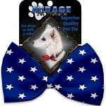 Blue Stars Pet Bow Tie Collar Accessory with Velcro
