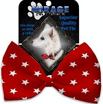 Red Stars Pet Bow Tie Collar Accessory with Velcro