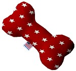 Red Stars 10 inch Stuffing Free Bone Dog Toy