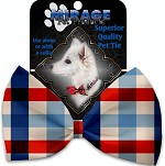 Patriotic Plaid Pet Bow Tie Collar Accessory with Velcro