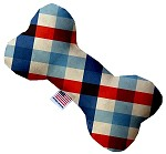 Patriotic Plaid 10 inch Stuffing Free Bone Dog Toy