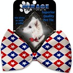 Patriotic Checkered Stars Pet Bow Tie Collar Accessory with Velcro