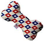 Patriotic Checkered Stars 8 inch Stuffing Free Bone Dog Toy