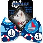 Anchors Away Pet Bow Tie Collar Accessory with Velcro