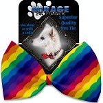 Scalloped Rainbow Pet Bow Tie Collar Accessory with Velcro