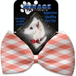 Peach Plaid Pet Bow Tie