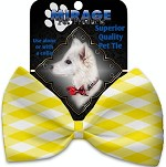 Yellow Plaid Pet Bow Tie Collar Accessory with Velcro