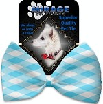 Baby Blue Plaid Pet Bow Tie Collar Accessory with Velcro