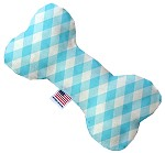 Baby Blue Plaid 8 inch Stuffing Free Bone Dog Toy