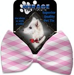 Baby Pink Plaid Pet Bow Tie Collar Accessory with Velcro