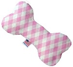 Baby Pink Plaid 6 inch Stuffing Free Bone Dog Toy