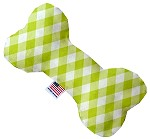 Lime Green Plaid 8 inch Stuffing Free Bone Dog Toy
