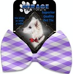 Purple Plaid Pet Bow Tie Collar Accessory with Velcro