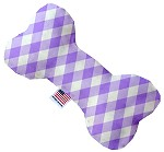 Purple Plaid 8 inch Stuffing Free Bone Dog Toy