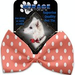 Peach Polka Dots Pet Bow Tie Collar Accessory with Velcro