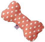 Peach Polka Dots 10 inch Stuffing Free Bone Dog Toy