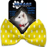 Yellow Polka Dots Pet Bow Tie Collar Accessory with Velcro