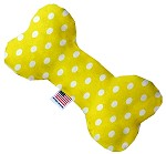 Yellow Polka Dots 6 inch Bone Dog Toy