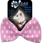 Pink Polka Dots Pet Bow Tie Collar Accessory with Velcro