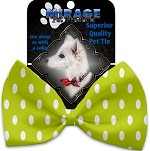 Lime Green Polka Dots Pet Bow Tie Collar Accessory with Velcro