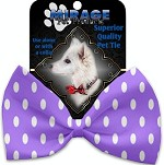 Purple Polka Dots Pet Bow Tie Collar Accessory with Velcro