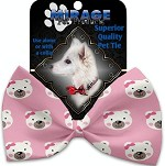 Pink Bears and Bows Pet Bow Tie Collar Accessory with Velcro