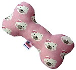 Pink Bears and Bows 6 inch Stuffing Free Bone Dog Toy