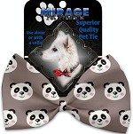 Grey Pandas Pet Bow Tie Collar Accessory with Velcro