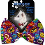 Purple Comic Sound Effects Pet Bow Tie Collar Accessory with Velcro