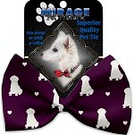 Purple Puppy Love Pet Bow Tie Collar Accessory with Velcro