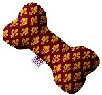 Maroon Fleur de Lis 10 inch Stuffing Free Bone Dog Toy