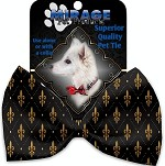 Black and Gold Fleur de Lis Pet Bow Tie