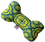 Blue and Yellow Moroccan Patterned 10 inch Stuffing Free Bone Dog Toy