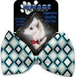 Blue Diamonds Pet Bow Tie Collar Accessory with Velcro