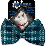 Blue Flowers Pet Bow Tie Collar Accessory with Velcro