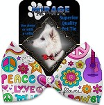 Hippy Love Pet Bow Tie Collar Accessory with Velcro