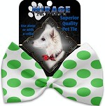 White and Green Dotted Pet Bow Tie Collar Accessory with Velcro