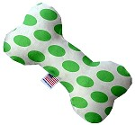 White and Green Dotted 6 inch Canvas Bone Dog Toy