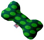 Green on Green Dots 8 inch Stuffing Free Bone Dog Toy